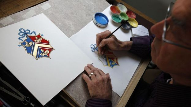 Robert Parsons sketches a coat of arms